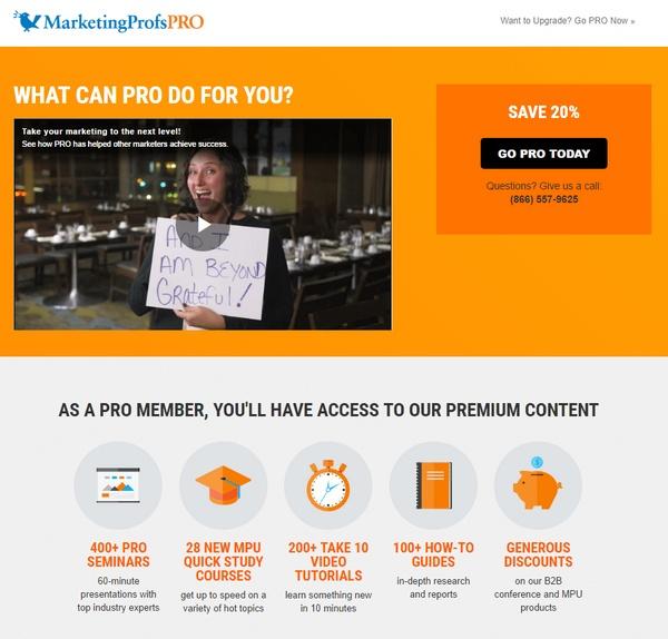 MarketingProfsPro landing page